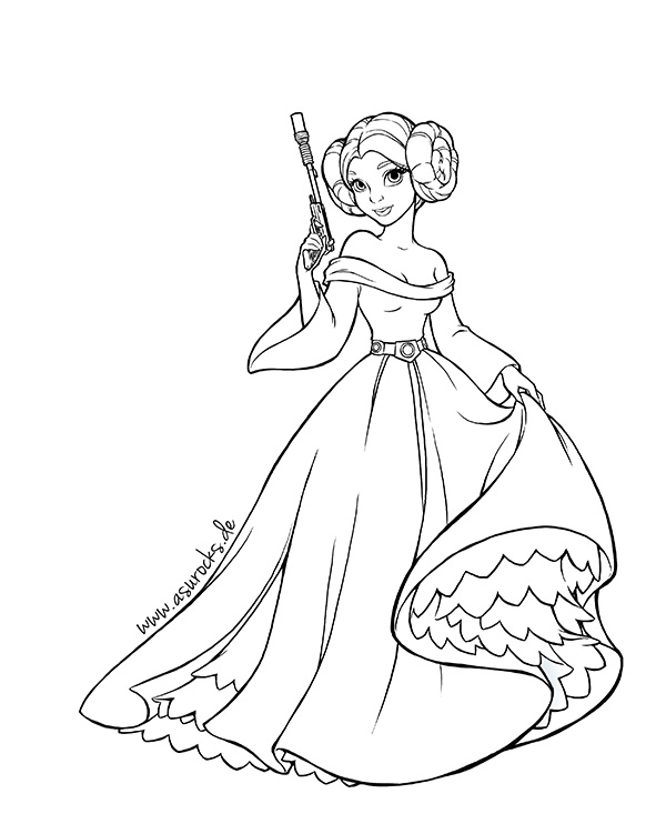 Disney princess leia stay at home yeti for Princess leia coloring page