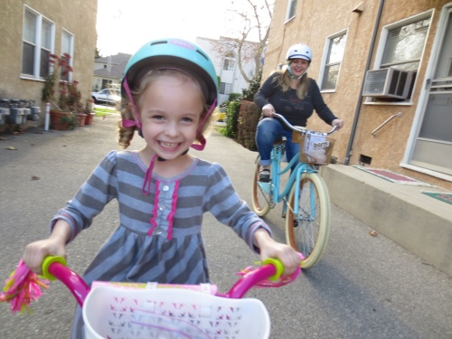 Greta and Mommy on their new bikes!
